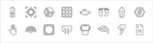 Outline Set Of Shapes Line Icons. Linear Vector Icons Such As Focus Button, Geometry Cube, Malfunction Indicador, Stylish Perfume Bottle, Hash Key, Four Finger In Hand, Wireless, Vignette,