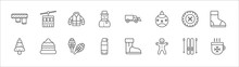 Outline Set Of Winter Line Icons. Linear Vector Icons Such As Ski Lift, Coat, Snowplow, Winter Tire, Winter Boots, Christmas Tree, Cap, Snowshoes, Themos Flask, Gingerbread Man, Hot Drink