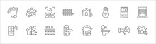 Outline Set Of Smart Home Line Icons. Linear Vector Icons Such As Automation, Face Scan, Freeze, Intercom, Blind, Voice Control, Home Automation, Underfloor Heating, Handle, Smart Toilet, Remote