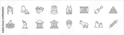 Fotografie, Obraz outline set of united states line icons