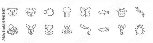 Leinwand Poster outline set of animals line icons