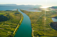 Aerial View Of The Neretva Delta Valley River Near Ploce, South Dalmatia, Croatia.