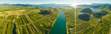 Panoramic Aerial View Of The Neretva Delta Valley River Near Ploce, South Dalmatia, Croatia.