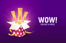 Win Prize Vector Illustration. Winning Gift Lottery Opened Textured Box With Exclamation Signs Explosion Inside On A Purple Background.