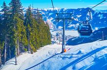 Enjoy Aerial Views From Trassxpress Cableway, Schmitten Mount, Zell Am See, Austria