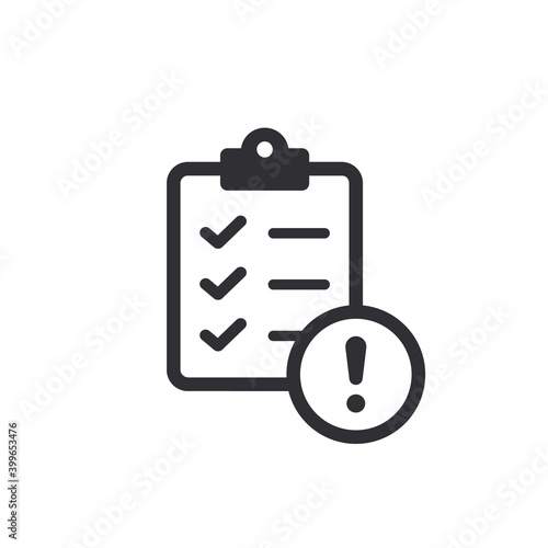 Fototapeta Tasks. Vector icon. Prepare document. Clipboard icon. Task done. Signed approved document icon. Project completed. Accept document. Exclamation point. Attention sign. Survey. Extra options. obraz