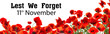 Remembrance day banner. Red poppy flowers and text Lest We Forget 11th November on white background