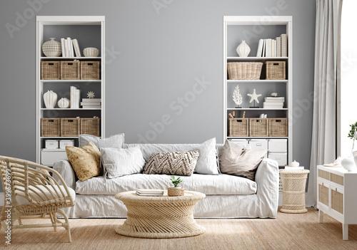 Fototapeta Cozy grey living room interior with coastal furniture, 3d render obraz