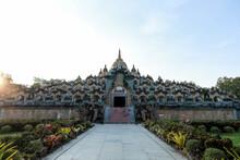 Wat Prachakhom Wanaram Or Wat Pakung Sandstone Pagoda. Located At Wat Prachakom Wanaram-Pahkoong, Ban Bak. Roiet Province.Thailand