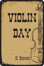Old Vintage Sign Violin Day