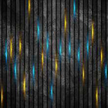 Abstract Black Grunge Stripes With Blue Orange Neon Glowing Light. Vector Technology Design