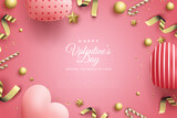 Valentine's day background with love balloons and gold ribbons.