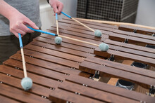 Percussion Instrument Xylophone Is Played With Sound Mallet - Close-up