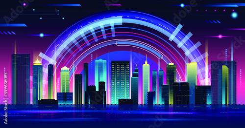 Fototapeta vector Futuristic night city. Cityscape on a dark background  obraz na płótnie