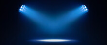 Abstract Show Led Light Concert Stage With Blue Beam Two Light Illuminating Empty Space, Panoramic On Black Background With Banner, Idea For Colorful Party Festival Celebration Happy New Year Concept.