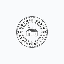 Vector Illustration Of Vintage Line Art Wooden Cabin Good For Cabin Rental Logo Design