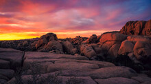 Sunset On The Jumbo Rocks, Joshua Tree National Park, California