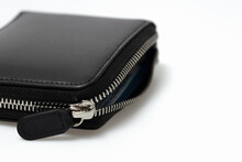 Closeup Mens Wallet Black Leather Zipper Pouch Isolated On White Background