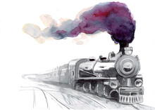 Watercolor Hand Drawn Locomotive, Train With Big Clouds Of Smoke, An Aerial Perspective. Raster Stock Illustration Isolated On White Background.