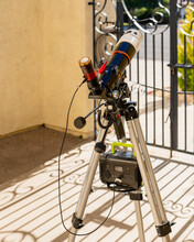 Solar Telescope In Front Of The House In Sunny Day, Front Yard