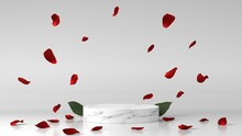 Marble Podium In Valentines Background With Decorations