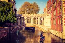 Bridge Of Sighs In Autumn Season In City Of Cambridge. UK