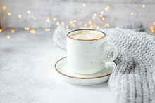 Cup Of Coffee, Scarf And Garland. Cozy Autumn Or Winter Composition. Scandinavian Style