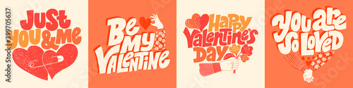 Fototapeta Vector card set for valentines day. Romantic collection for social media, print, t-shirt, card, poster, gift, landing page, web design elements. Hand-drawn lettering typography. Doodle illustration. obraz