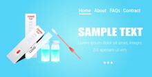 Set Syringe With Covid-19 Vaccine Bottle Swab Nasal Test And Rapid Cassette Fight Against Coronavirus Pandemic Concept Horizontal Copy Space Vector Illustration