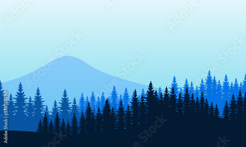 Obraz Beautiful scenery spruce and mountains in the morning. City vector - fototapety do salonu