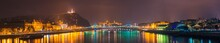 Night Time Skyline Panorama Of Budapest Overlooking Liberty Bridge And Statue. Hungary