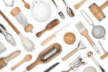 Kitchen Utensils Set For Restaurant Or Home On White Background