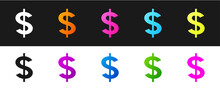 Set Dollar Symbol Icon Isolated On Black And White Background. Cash And Money, Wealth, Payment Symbol. Casino Gambling. Vector.