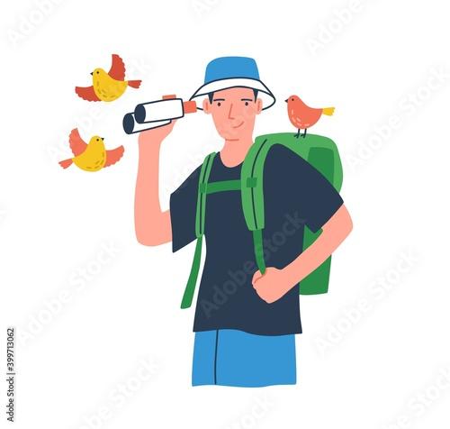 Stampa su Tela Young birdwatcher at ecotour