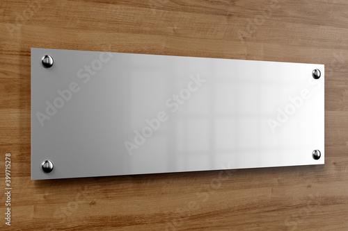 Fotografie, Obraz Metal office plate mockup