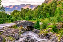 Ashness Bridge Long Exposure View. Lake District National Park. Cumbria. England