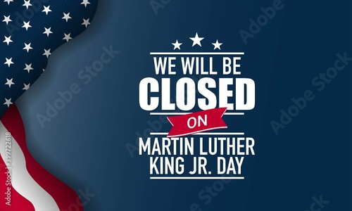 Fototapeta Martin Luther King Jr. Day Background. Closed on Martin Luther King Jr. Day. Vector Illustration. obraz