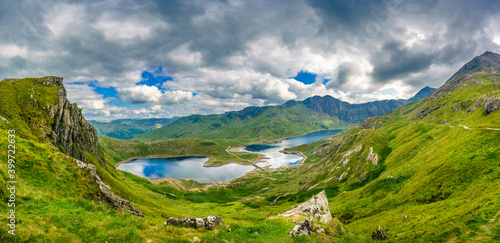 Panorama of beautiful landscape of Snowdonia National Park in North Wales overlo Wallpaper Mural