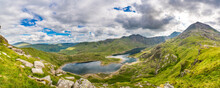 Beautiful Panorama Of Snowdonia In North Wales Seen Freom Glyder Fawr Mountain