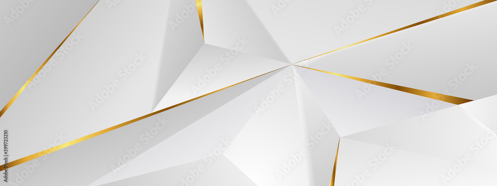 Fototapeta Abstract architectural background 3d illustration white and gold color modern geometric wallpaper can be used in cover design, book design, flyer, website background or advertising..