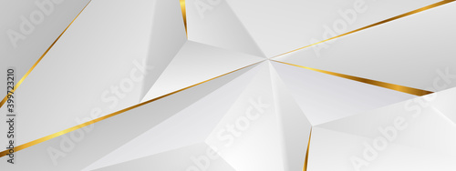 Abstract architectural background 3d illustration white and gold color modern geometric wallpaper can be used in cover design, book design, flyer, website background or advertising.. - fototapety na wymiar