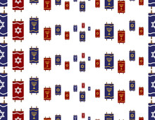 Blue Red Torah Scroll With Gray Star Of David And Gold Menorah Seamless Pattern On White Background