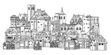 An Old Medieval Town, City Or Village Buildings Drawing Or Map Design Element In A Vintage Engraved Woodcut Style