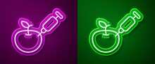 Glowing Neon Line Genetically Modified Apple Icon Isolated On Purple And Green Background. GMO Fruit. Syringe Being Injected To Apple. Vector.