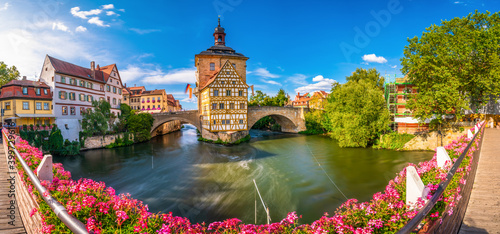 Canvas Panorama of old town of Bamberg, Bavaria, Germany