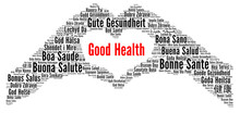 Good Health Word Cloud Concept In Different Languages