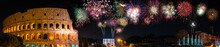 Fireworks Display Near Colosseum In Rome, Italy