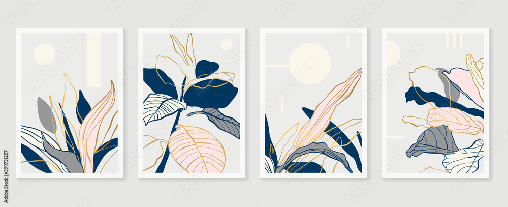 Obraz Botanical and gold abstract wall arts vector collection.  Golden and luxury pattern design with leaves line arts, Hand draw Organic shape design for wall framed prints, canvas prints, poster, home dec fototapeta, plakat