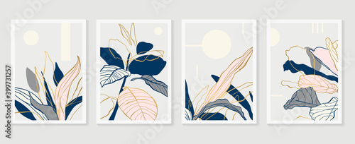 Fototapeta Botanical and gold abstract wall arts vector collection.  Golden and luxury pattern design with leaves line arts, Hand draw Organic shape design for wall framed prints, canvas prints, poster, home dec obraz