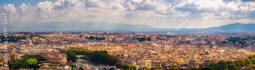 Canvas Skyline panorama of Rome city in Italy